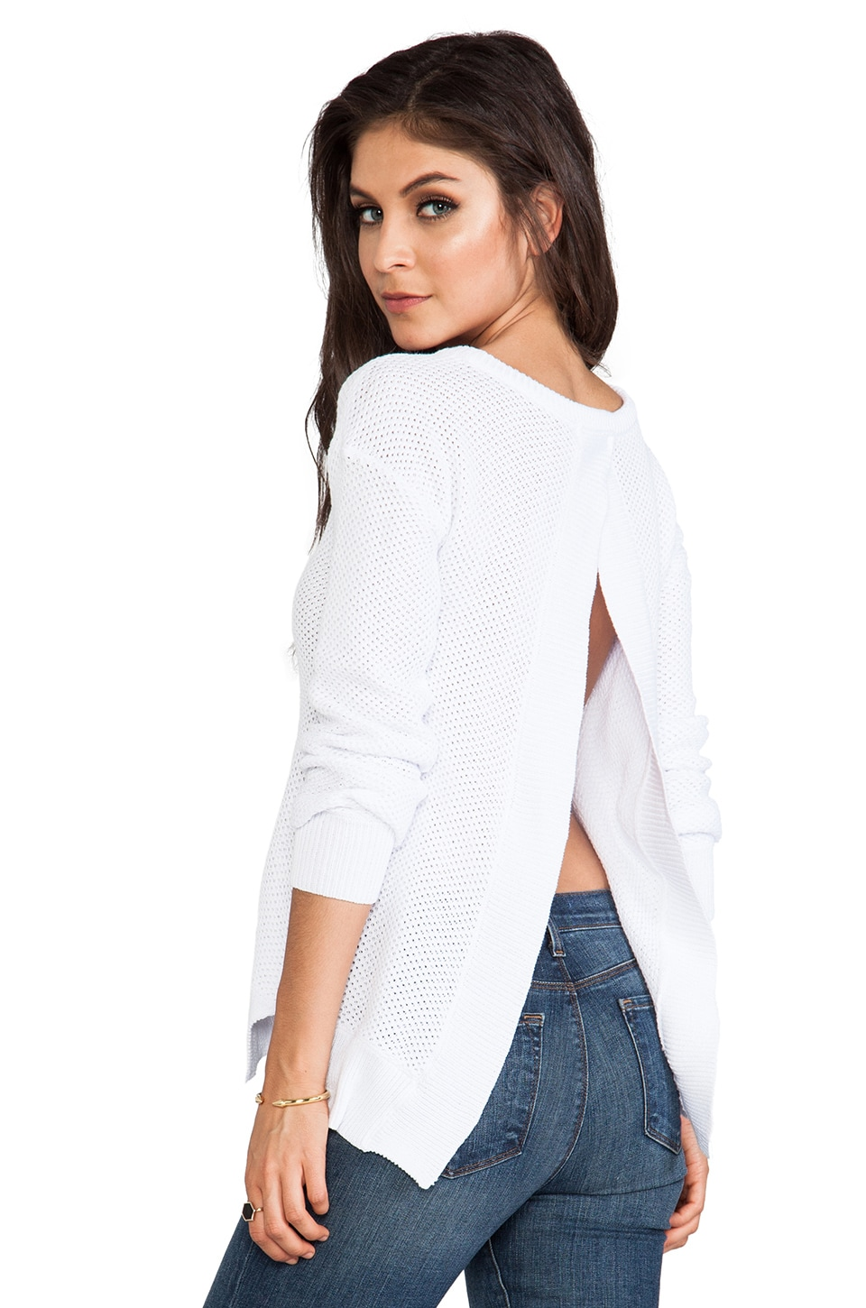 BB Dakota Kit Open Back Sweater in Optic White