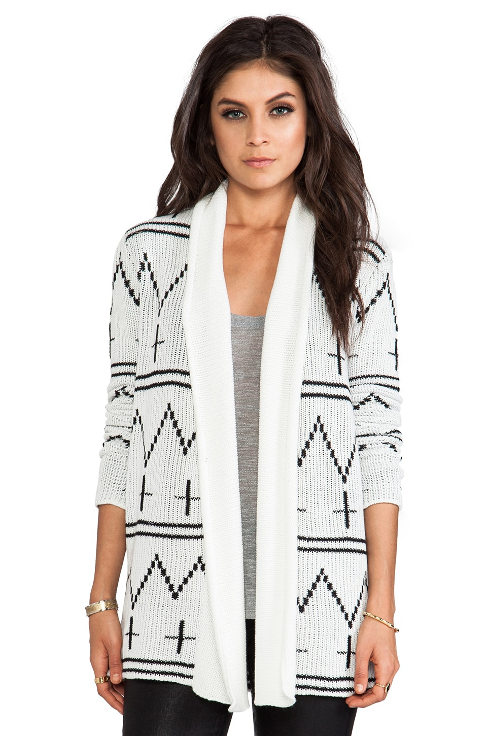 BB Dakota Sahar Patterned Cardigan in Ivory & Black