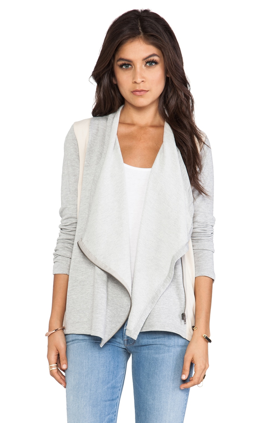 BB Dakota Cadrian Rib Cardigan in Heather Grey