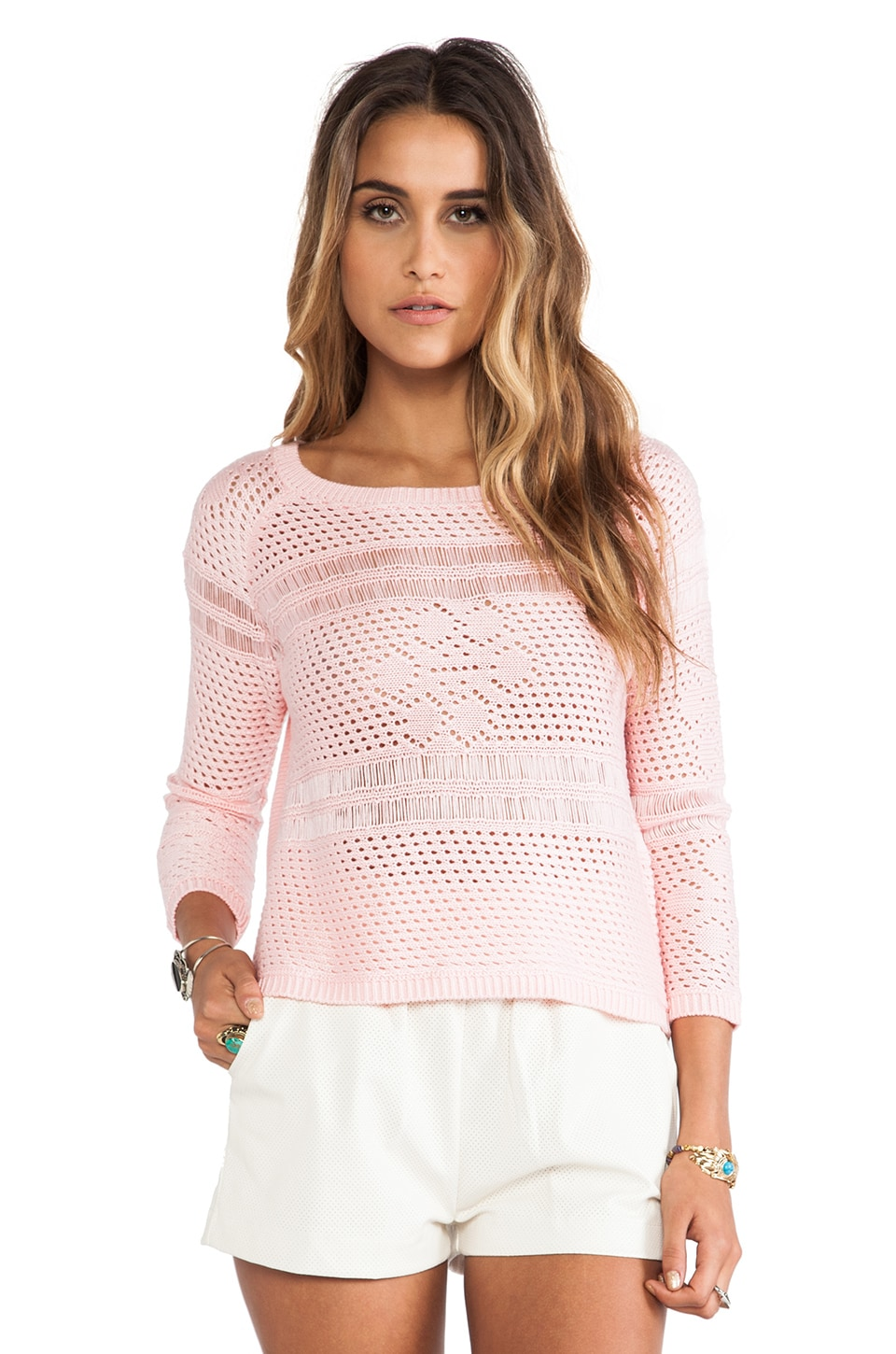 BB Dakota Calida Novelty Stitch Sweater in Crystal Rose