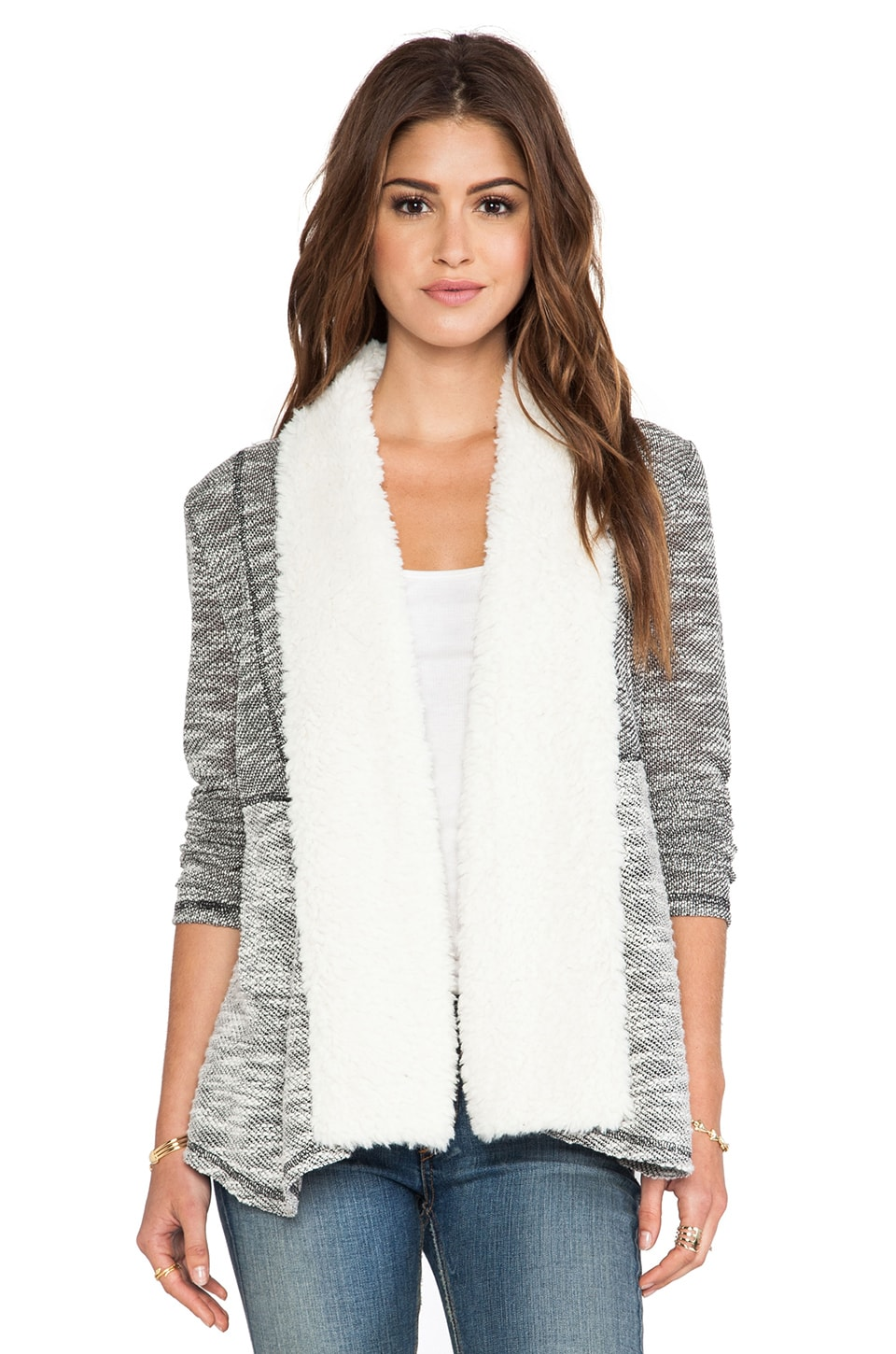 BB Dakota Applin Cardigan with Faux Fur trim in Black & Oatmeal