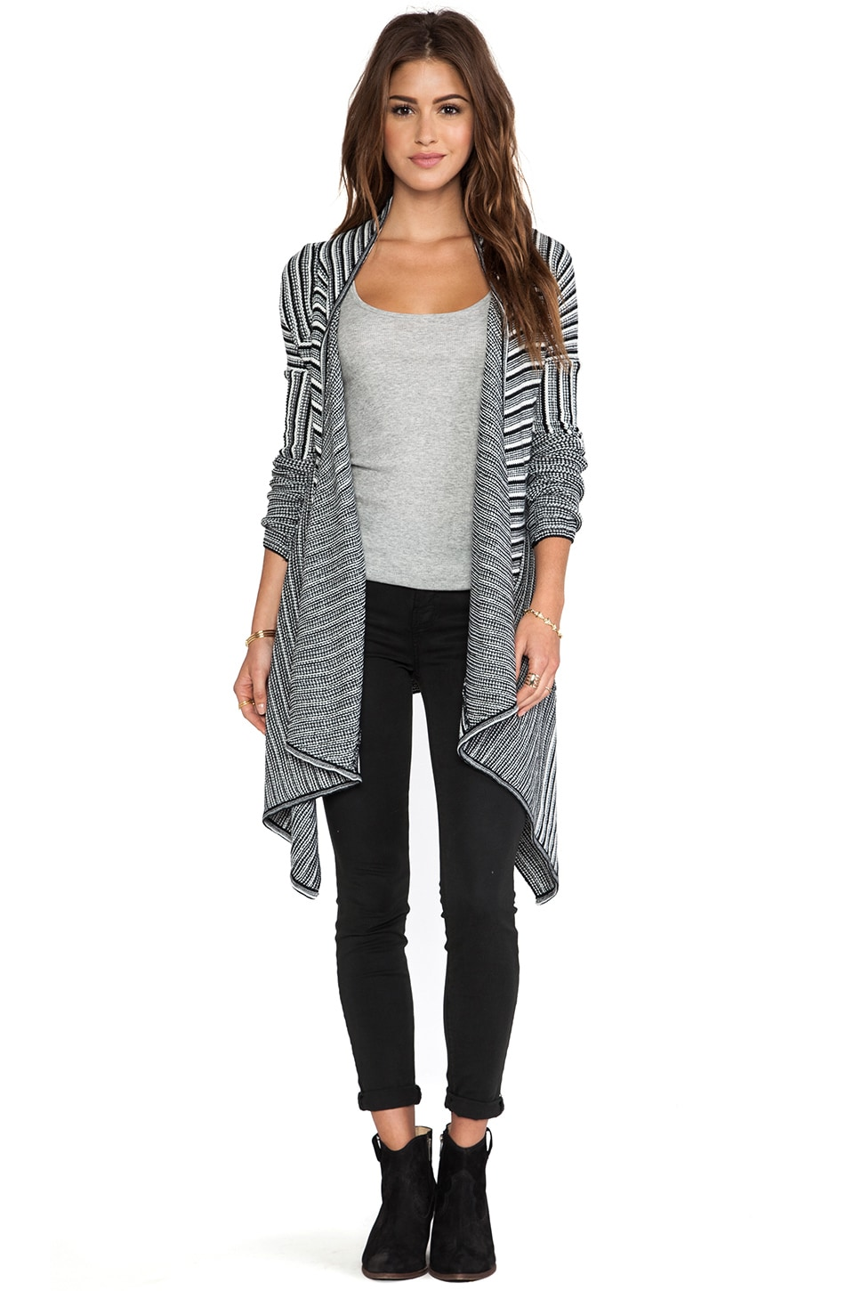 BB Dakota Mayer Striped Cardigan in Black