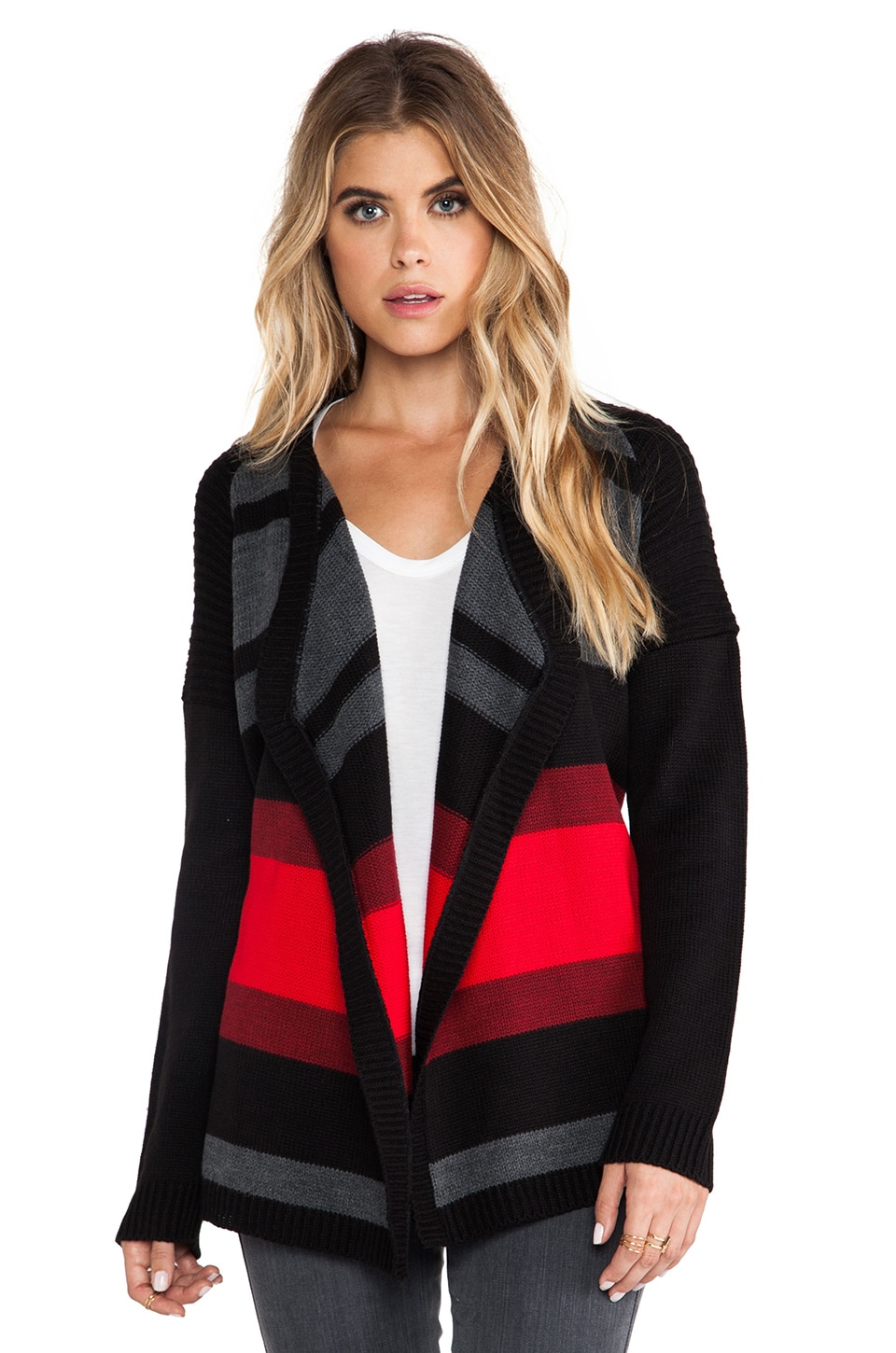 BB Dakota Collin Striped Cardigan in Black