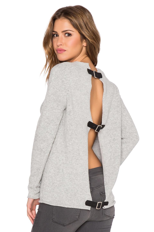 BB Dakota Jodie Buckle Back Sweater in Lt. Heather Grey