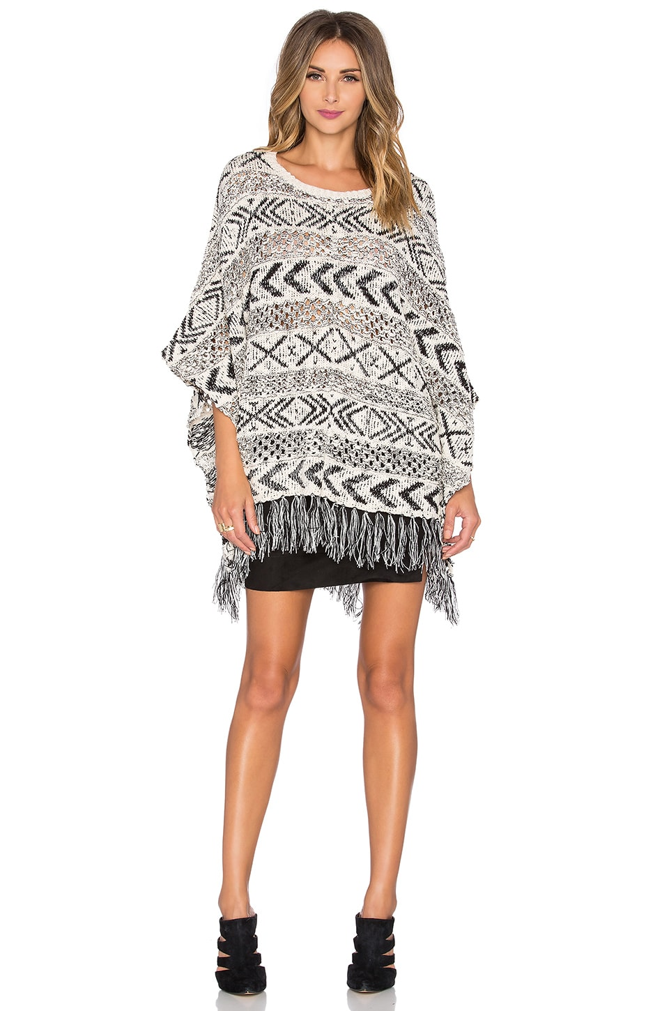 BB Dakota Campbell Fringe Poncho in Ivory