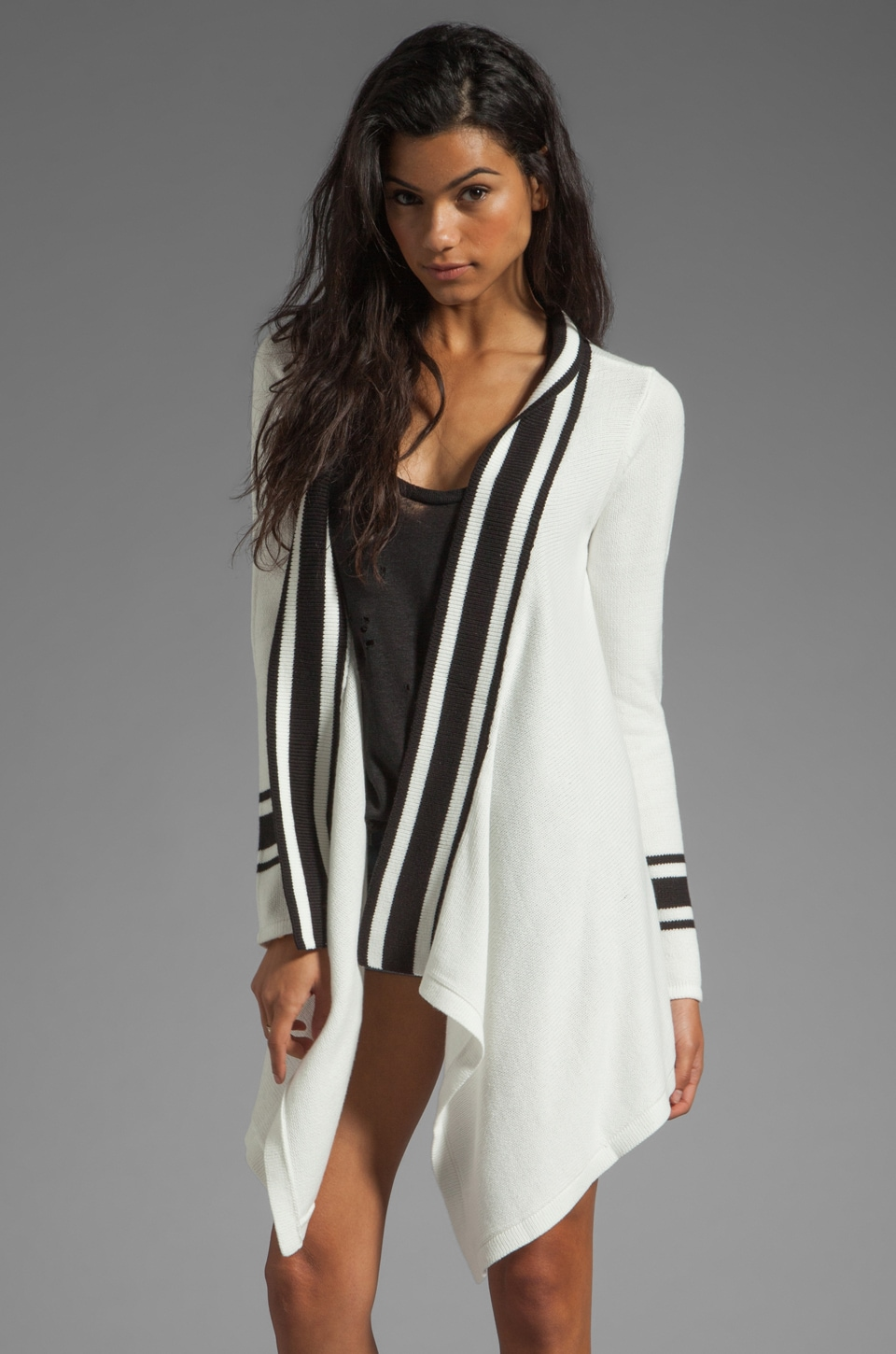 BB Dakota Thina Stripe Cardigan in Dirty White