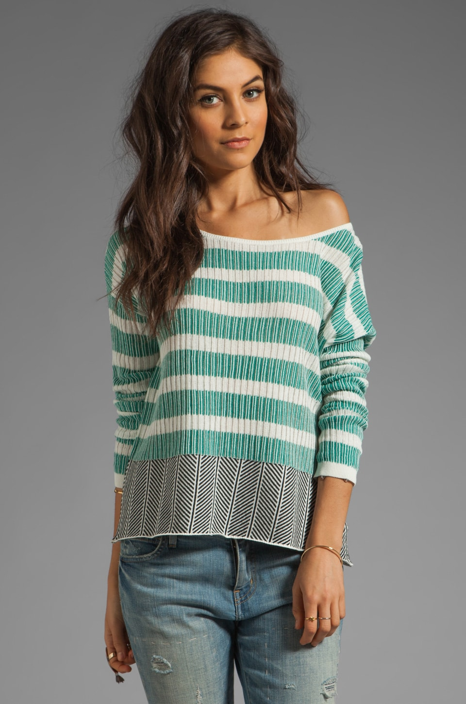 BB Dakota Adalyn Stripe Cotton Sweater in Black/Ivory/Persian Teal