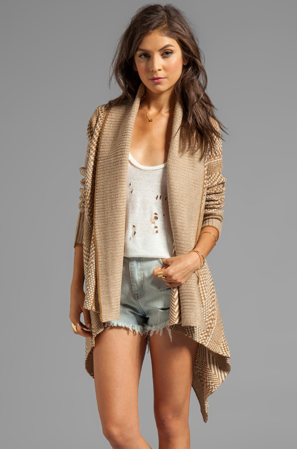 BB Dakota Kali Patterned Cardigan in Camel Hair Brown