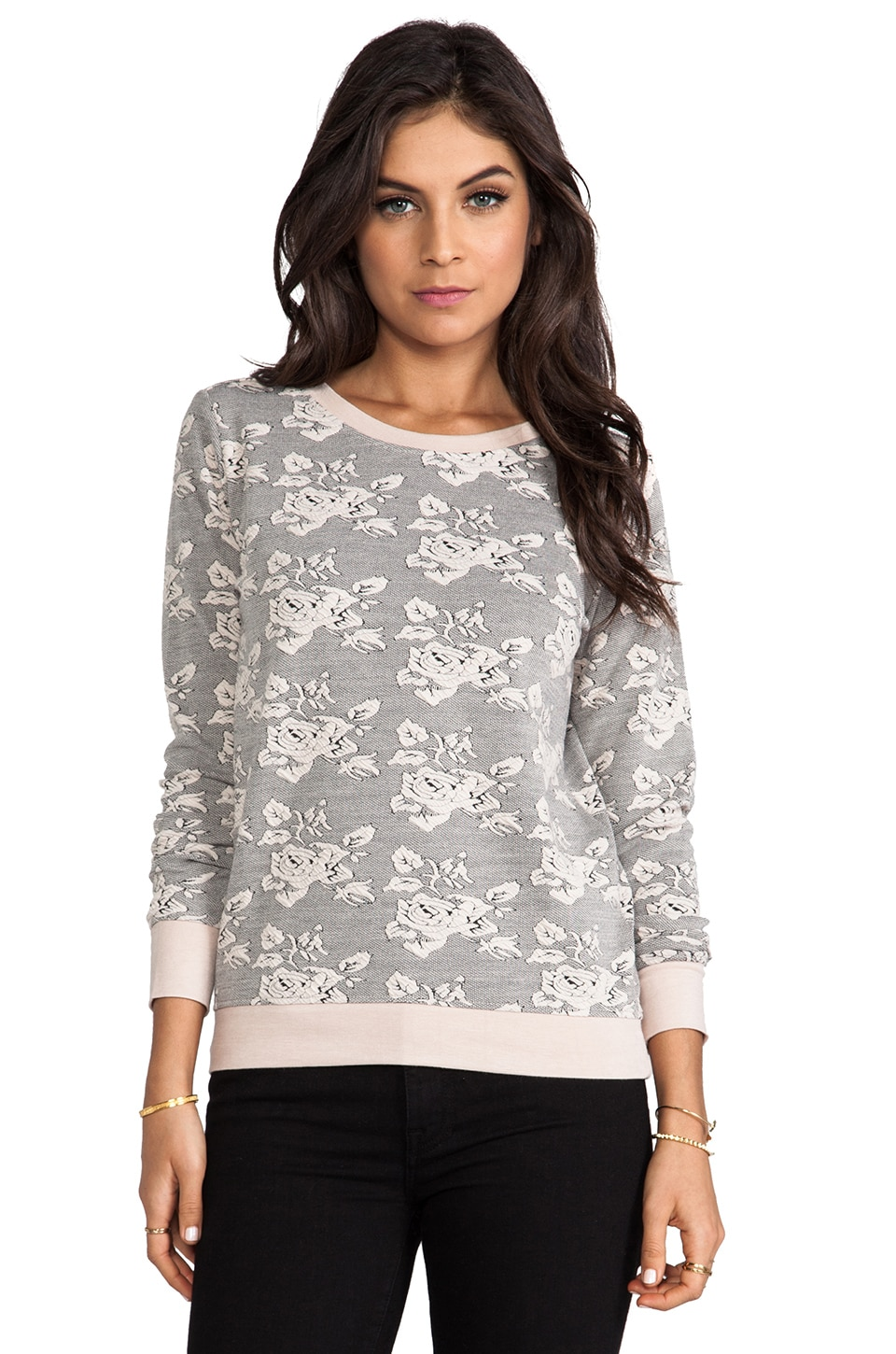 BB Dakota Tierney Rose Pattern Knit Jacquard in Whitecap Beige