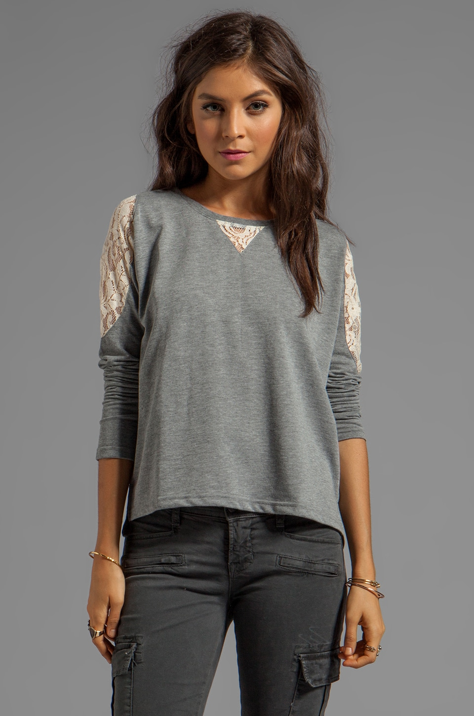BB Dakota Costello Heather French Terry Sweater w. Lace in Light Heather Grey