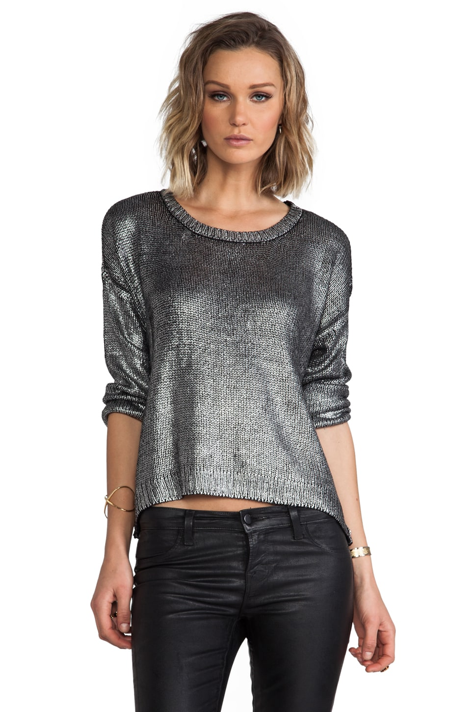 BB Dakota Chey Metallic Foiled Sweater in Cloud