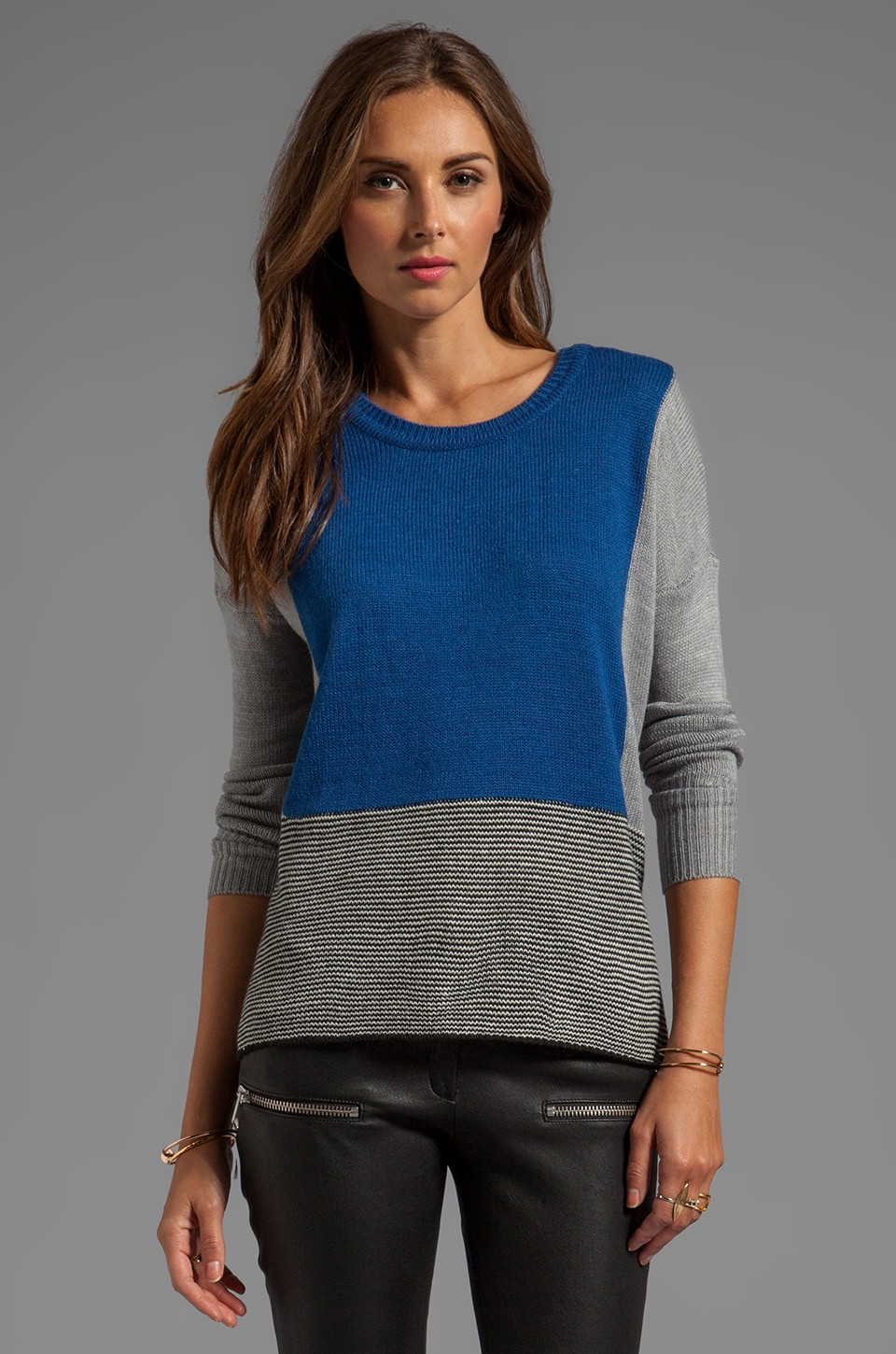 BB Dakota Alice Colorblock Sweater Knit in Limoges Blue