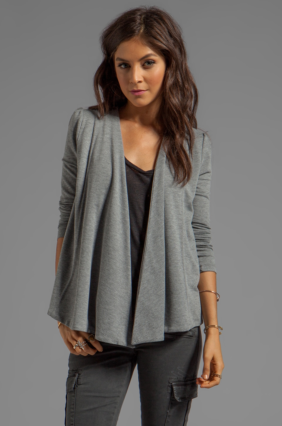 BB Dakota Elle Heather French Terry Wrap in Light Heather Grey