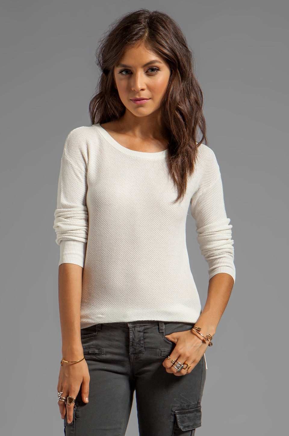 BB Dakota Julissa Novelty Mesh Sweater in Dirty White