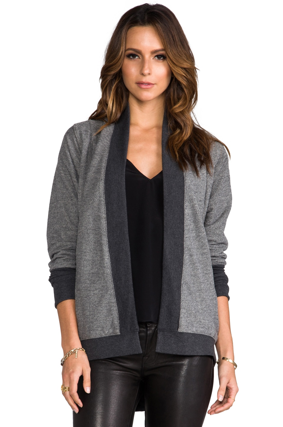 BB Dakota Daron Diamond Jacquard Wrap in Dark Heather Grey