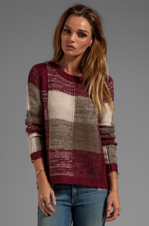 BB Dakota Ronit Buffalo Plaid Acrylic Sweater Knit in Syrah Red