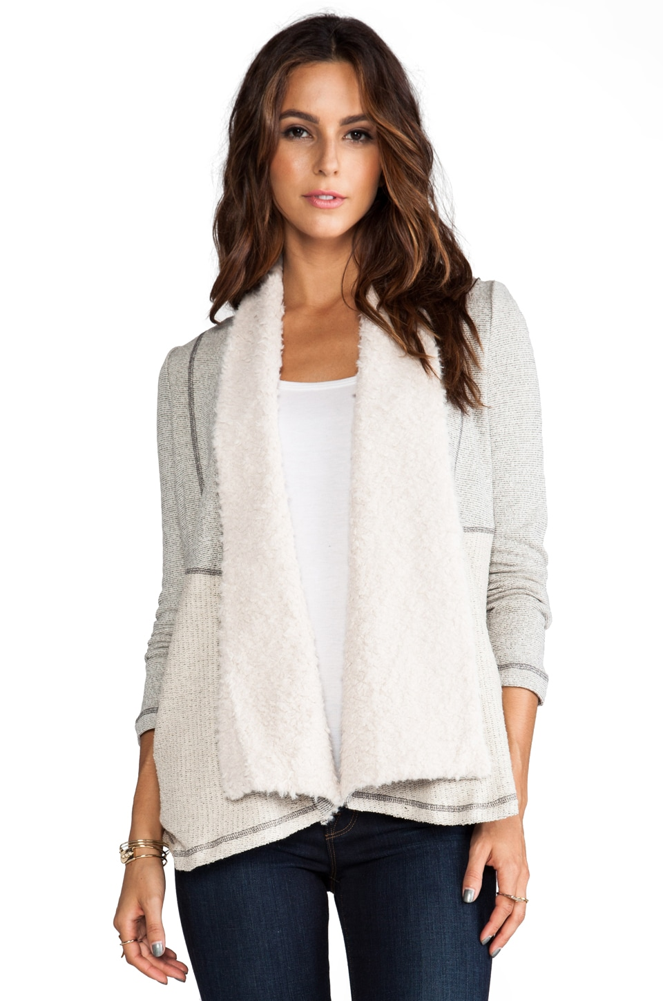 BB Dakota Aila French Terry Wrap Sweater in Heather Grey