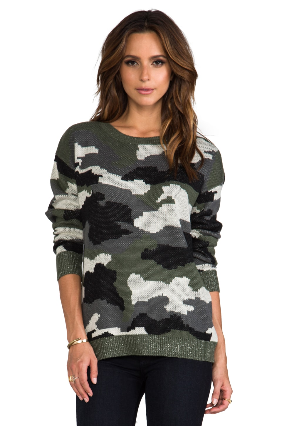 BB Dakota Ace Camo Sweater in Military Green