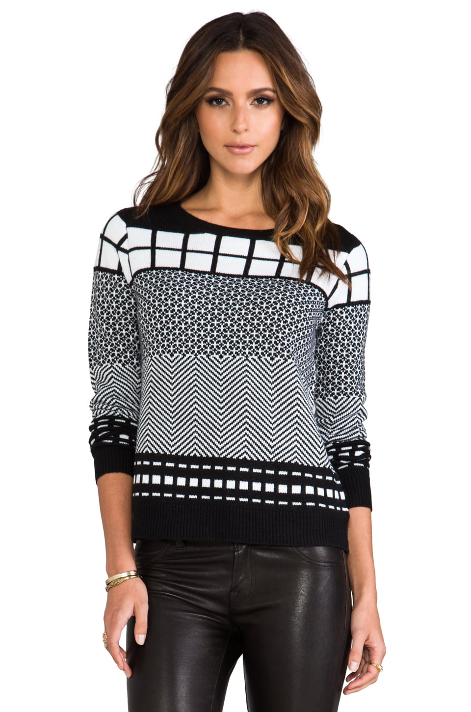 BB Dakota Alexander Geometric Patter Pullover in Black