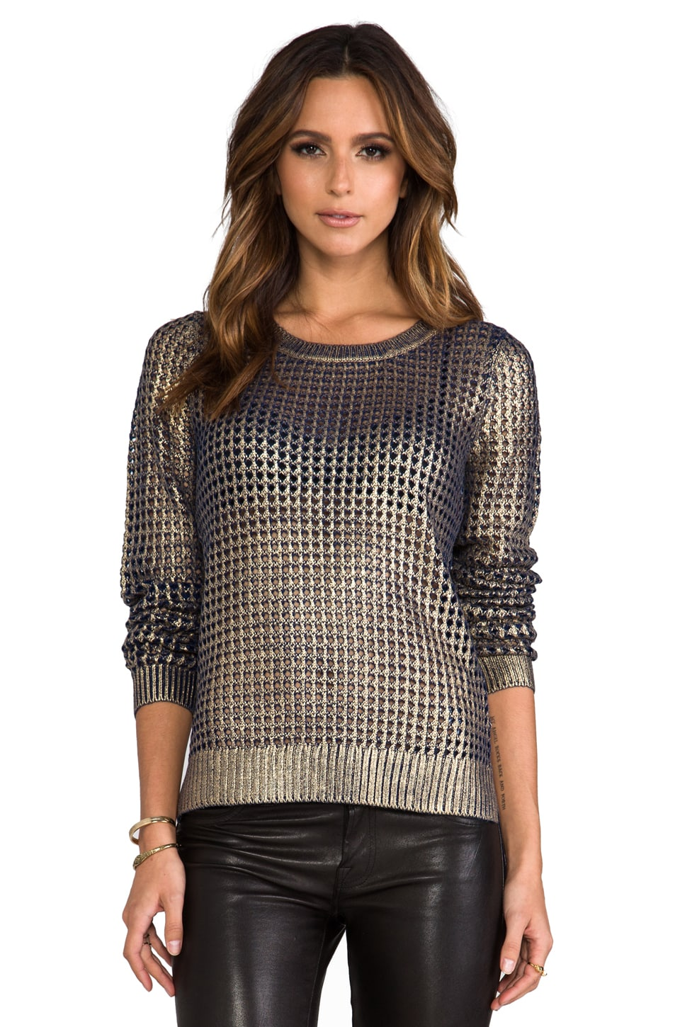 BB Dakota Bardot Metallic Printed Sweater in Navy/Gold