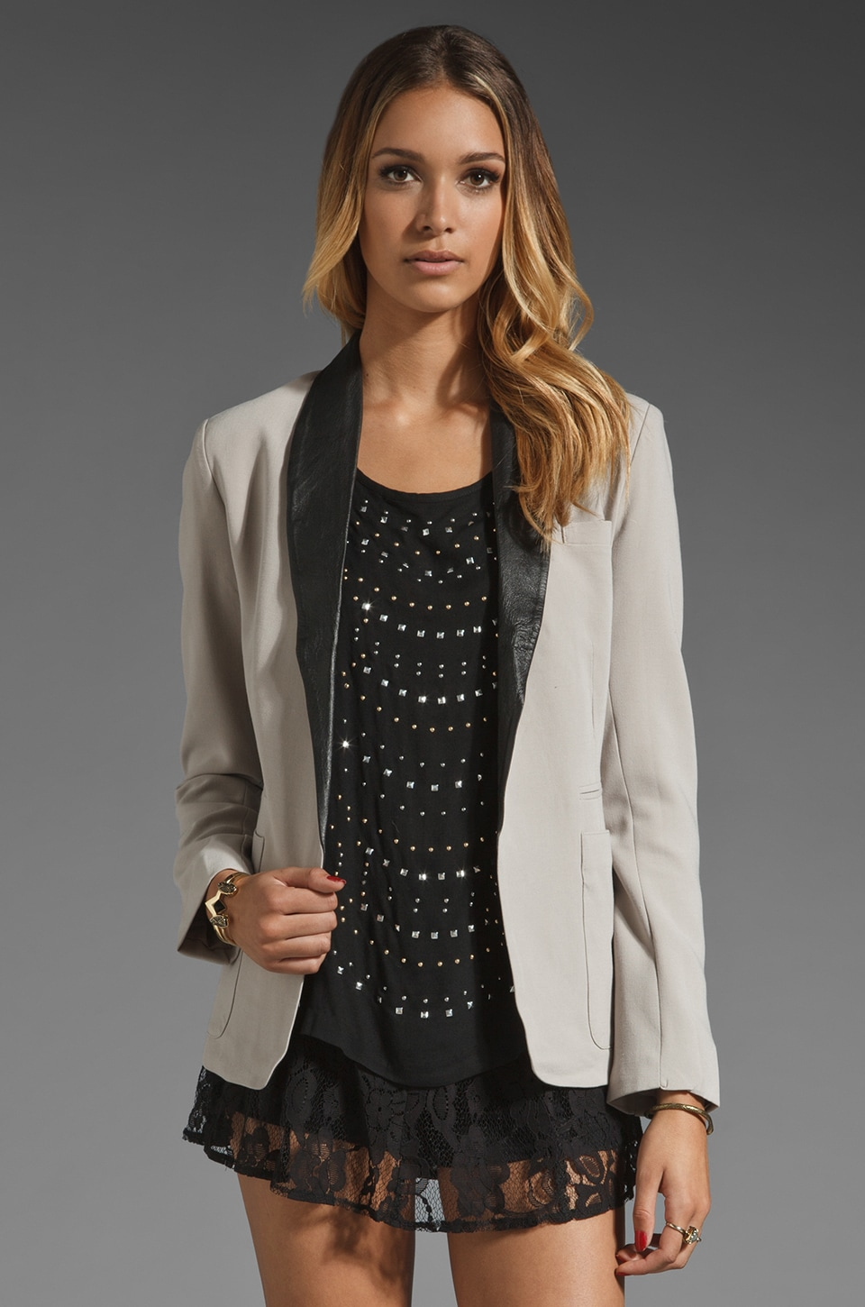 BB Dakota Steward Leather Lapel Blazer in Greige Grey