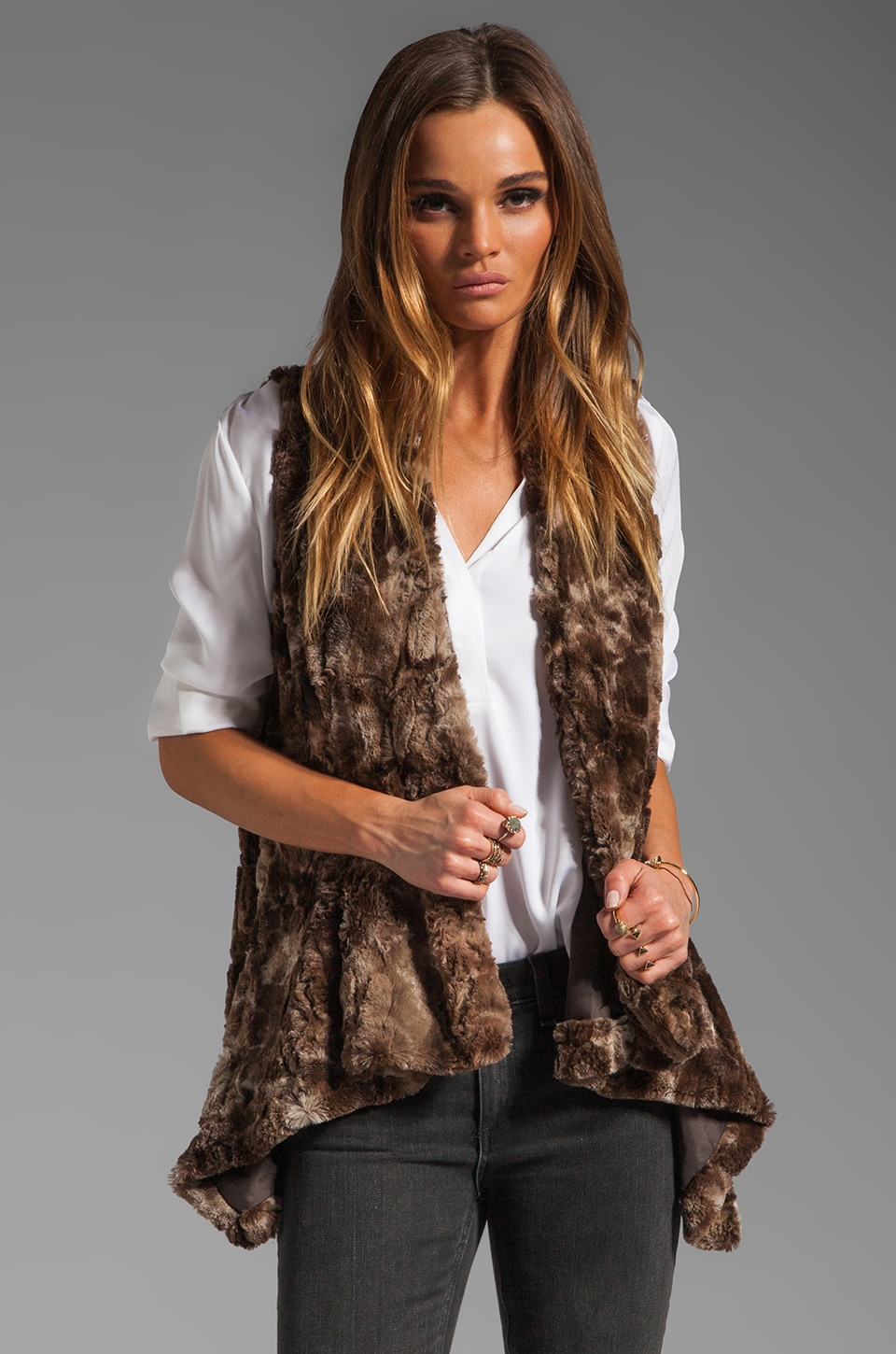 BB Dakota Leti Tie Dye Faux Fur Vest in Brown