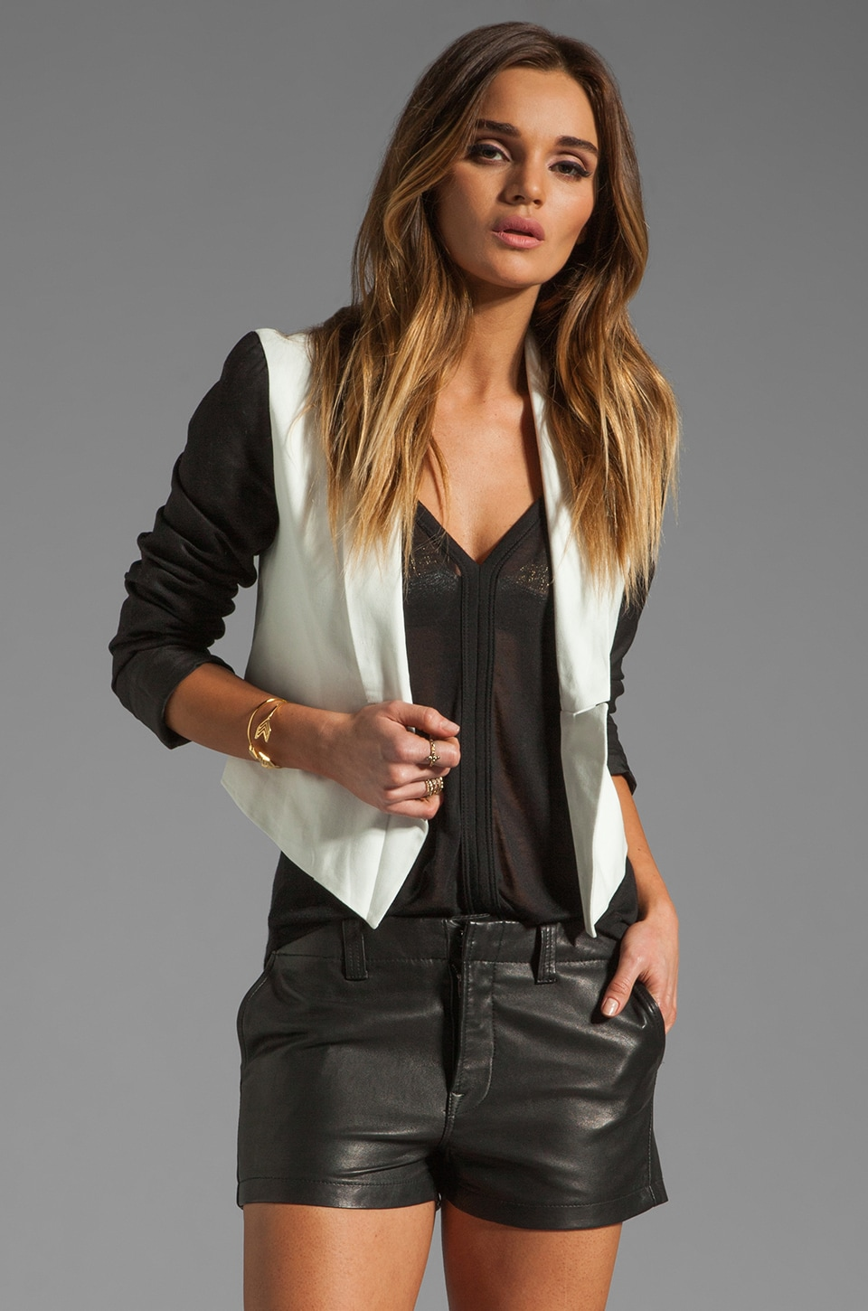 BB Dakota Alton Palio Linen Color Block Cropped Jacket in Dirty/White Black