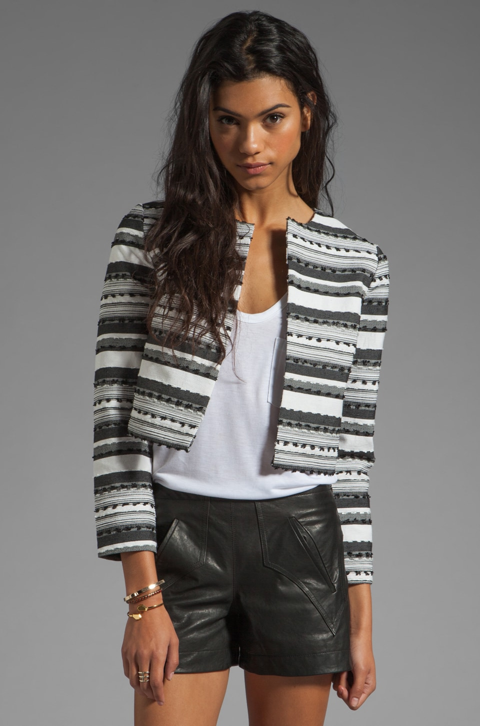 BB Dakota Jariah Striped Textured Crop Jacket in White/Black