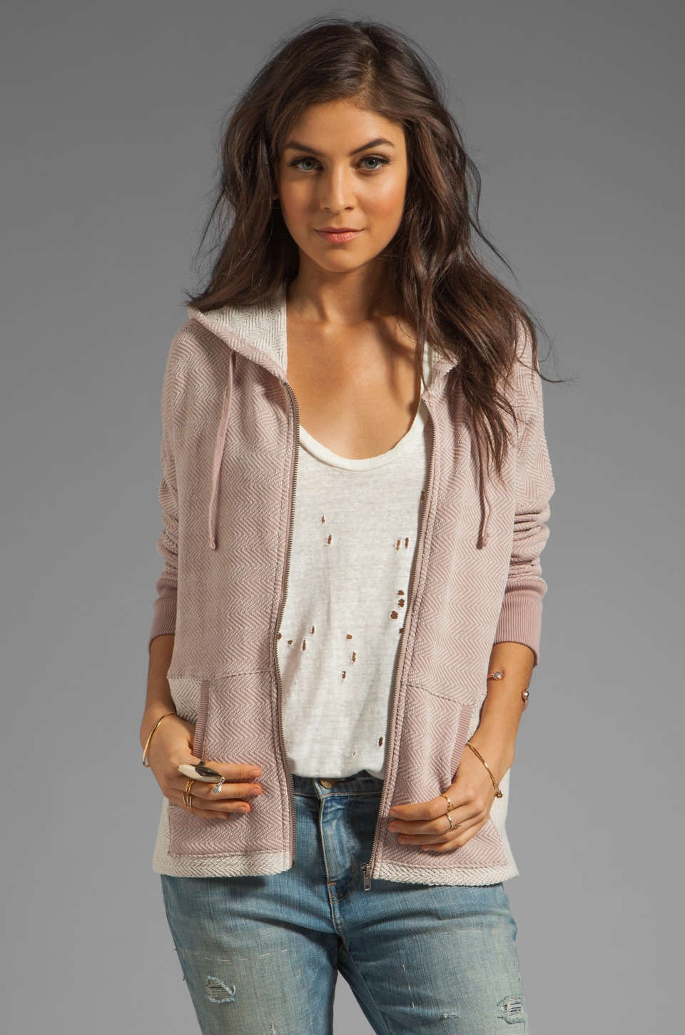 BB Dakota Antebellum Herringbone French Terry Hoodie in Pearl Rose