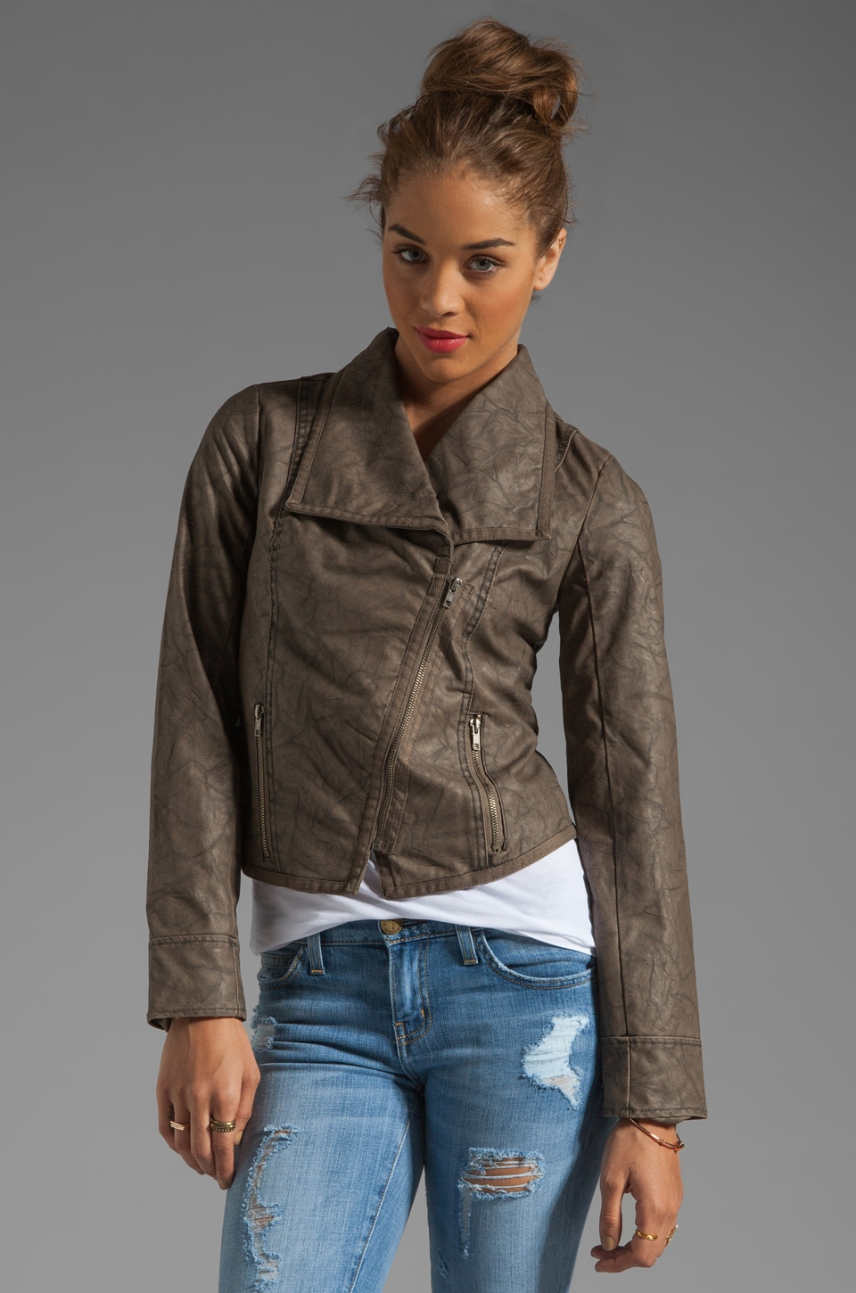 BB Dakota Sandler 2 Tone Crinkle Faux Leather Jacket in Concrete