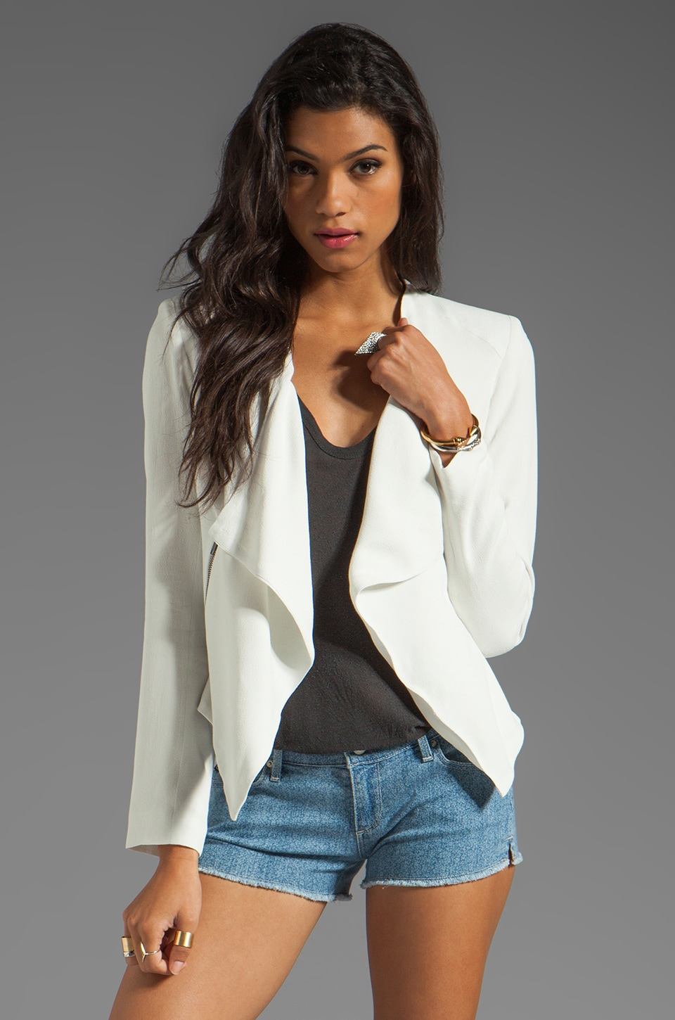 BB Dakota Adams Sharp Shoulder Drape Jacket in Dirty White