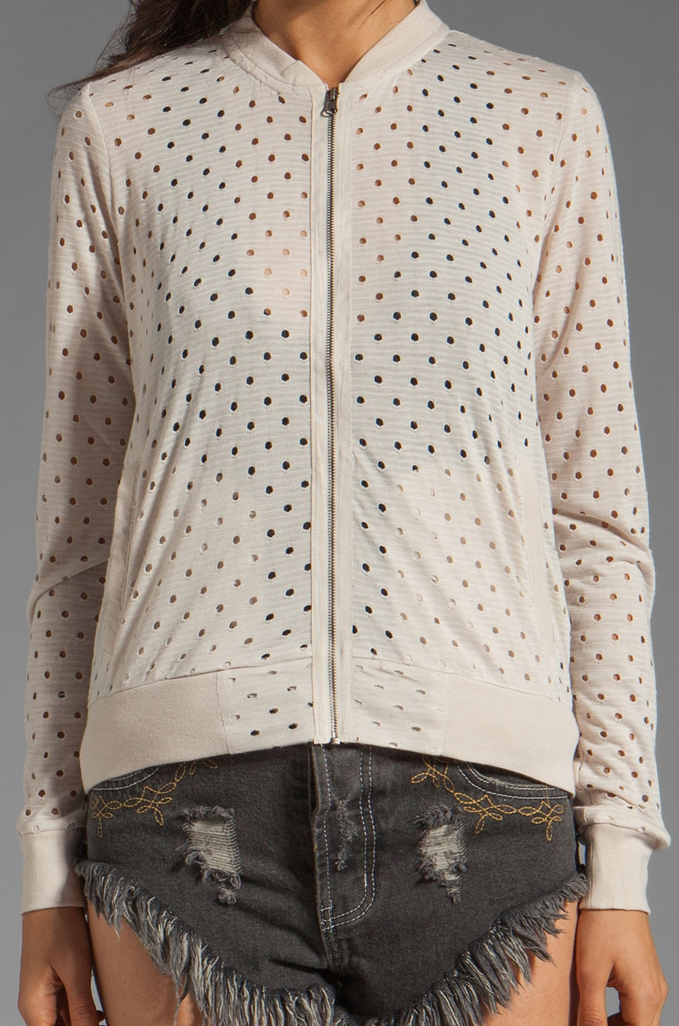BB Dakota Basswood Eyelet Knit Bomber in Whitecap Beige
