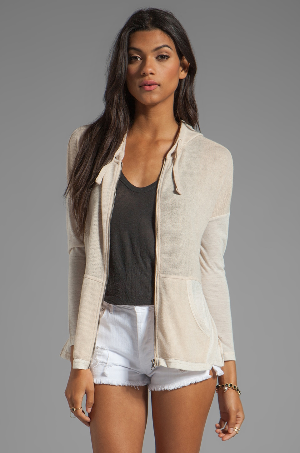 BB Dakota Rolfe Mesh Knit & Heather Jersey Hoodie in Whitecap Beige