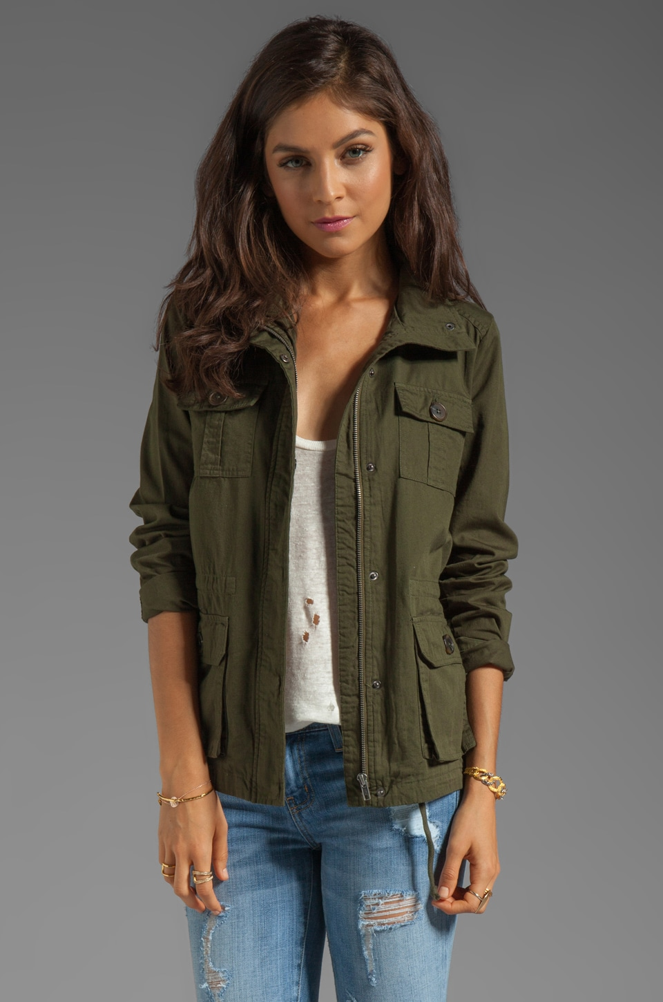 BB Dakota Leslie Cotton Twill Army Jacket in Army Green