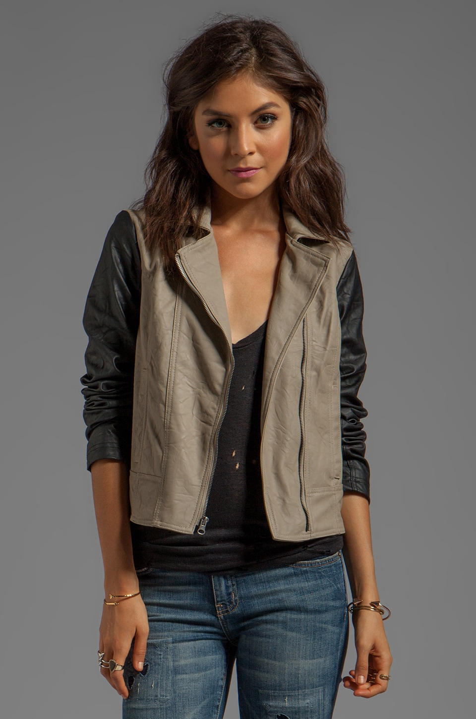 BB Dakota Kat Colorblock PU Jacket in Black/Tan