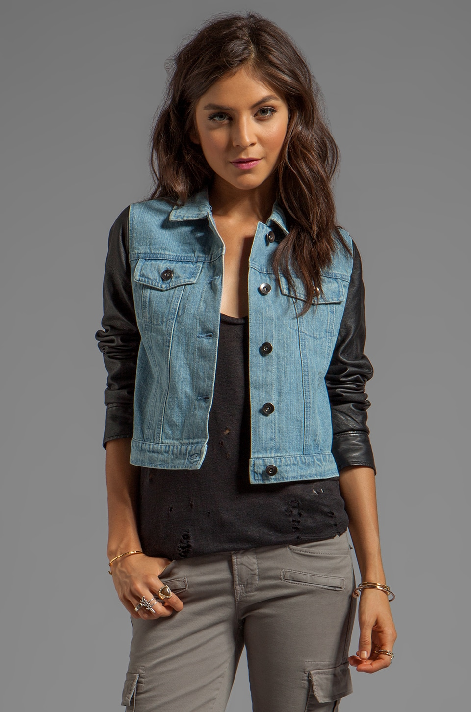BB Dakota Kiran Dry Crinkle Jacket in Black/Denim