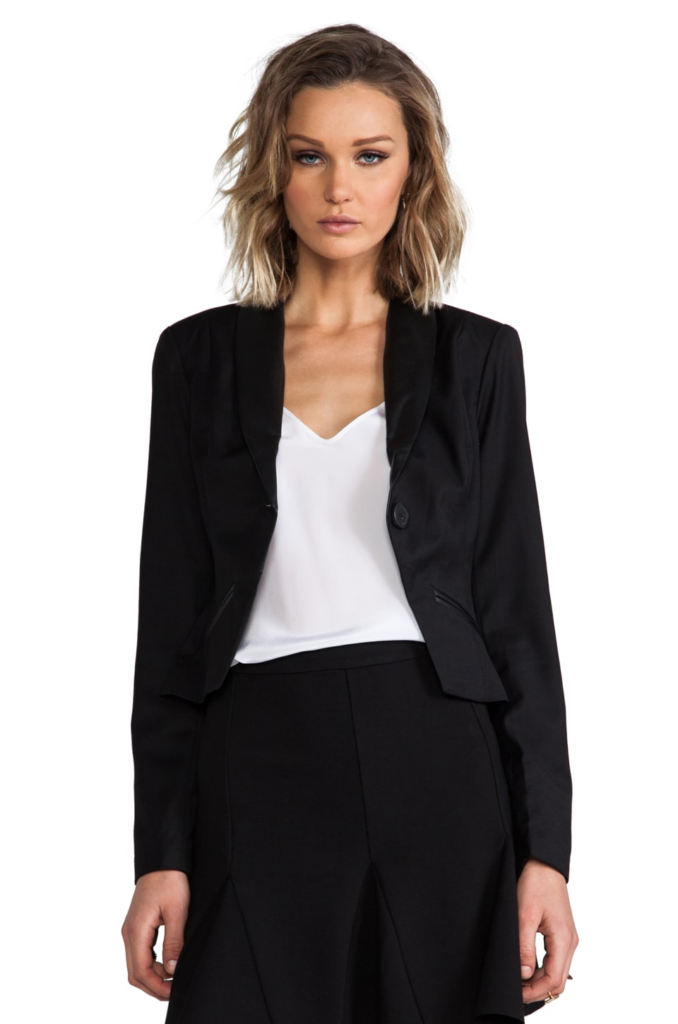 BB Dakota Heiner PU Suiting Twill Blazer in Black