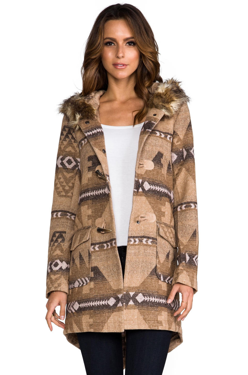 BB Dakota Davina Faux Coyote Fur Trim Patterned Coat in Light Camel Beige