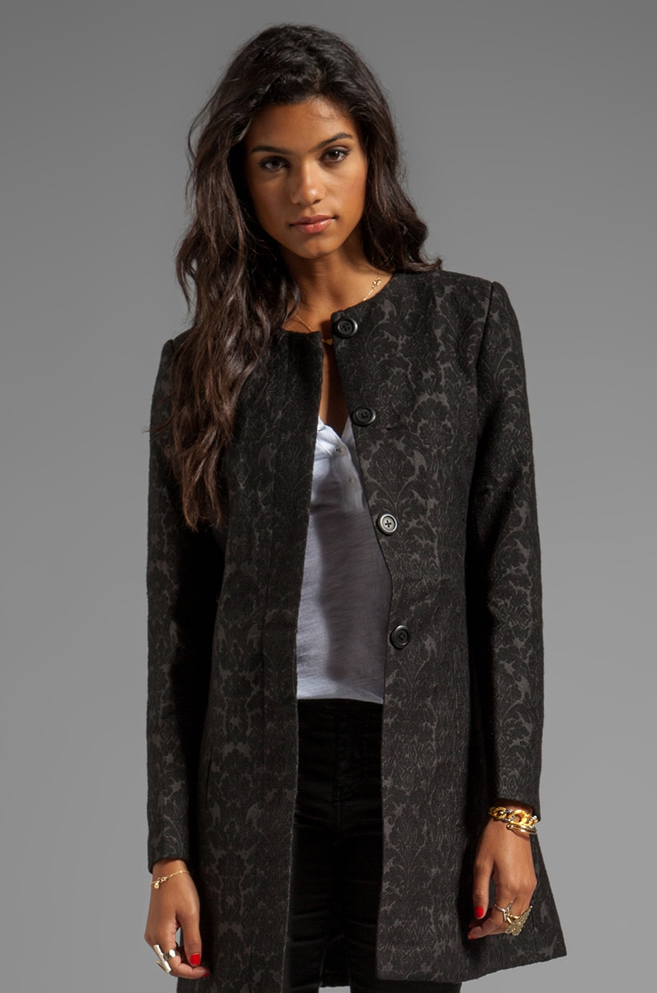 BB Dakota Rosette Jacquard Coat in Black