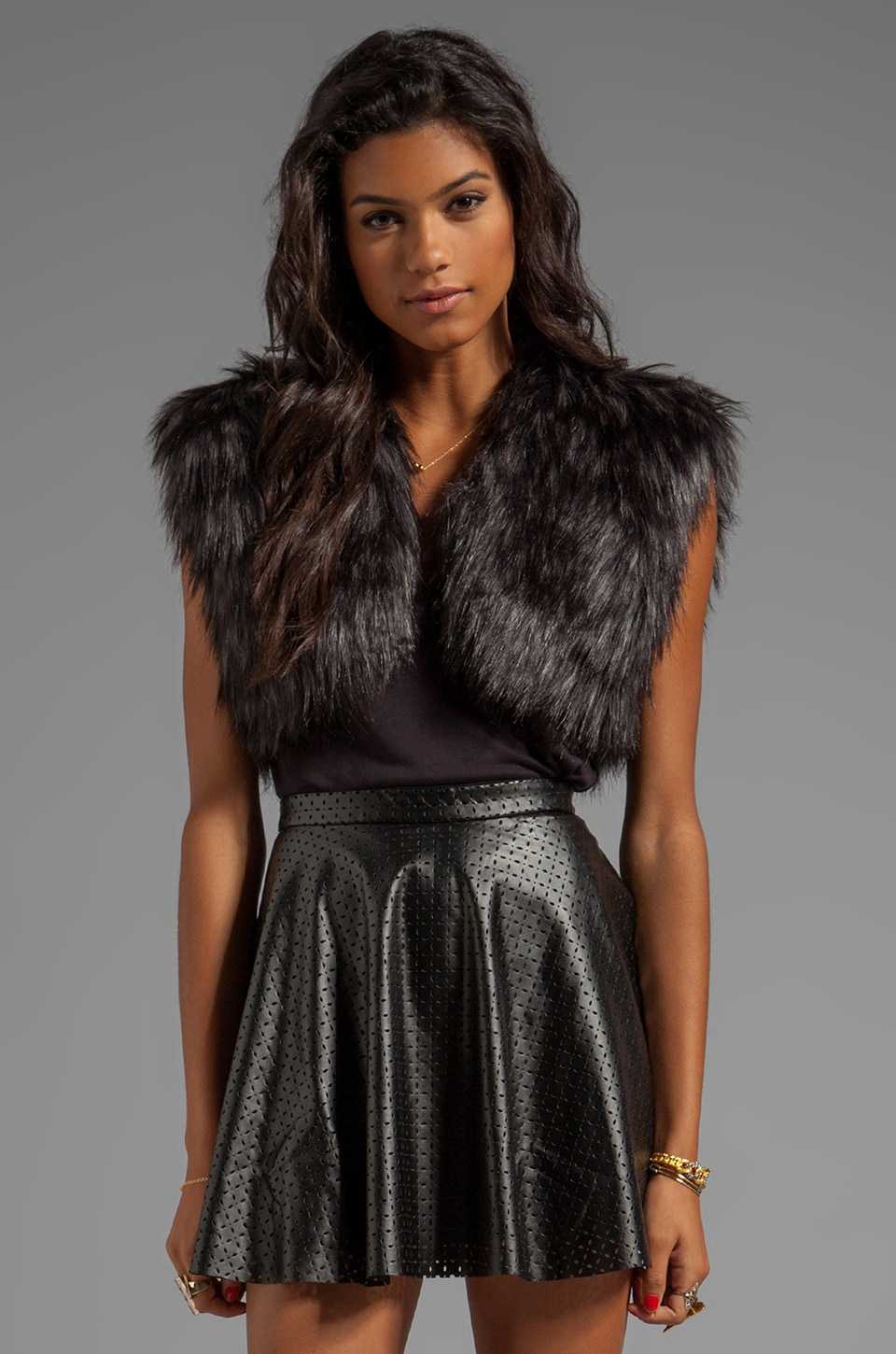 BB Dakota Taya Faux Fur Shrug in Black