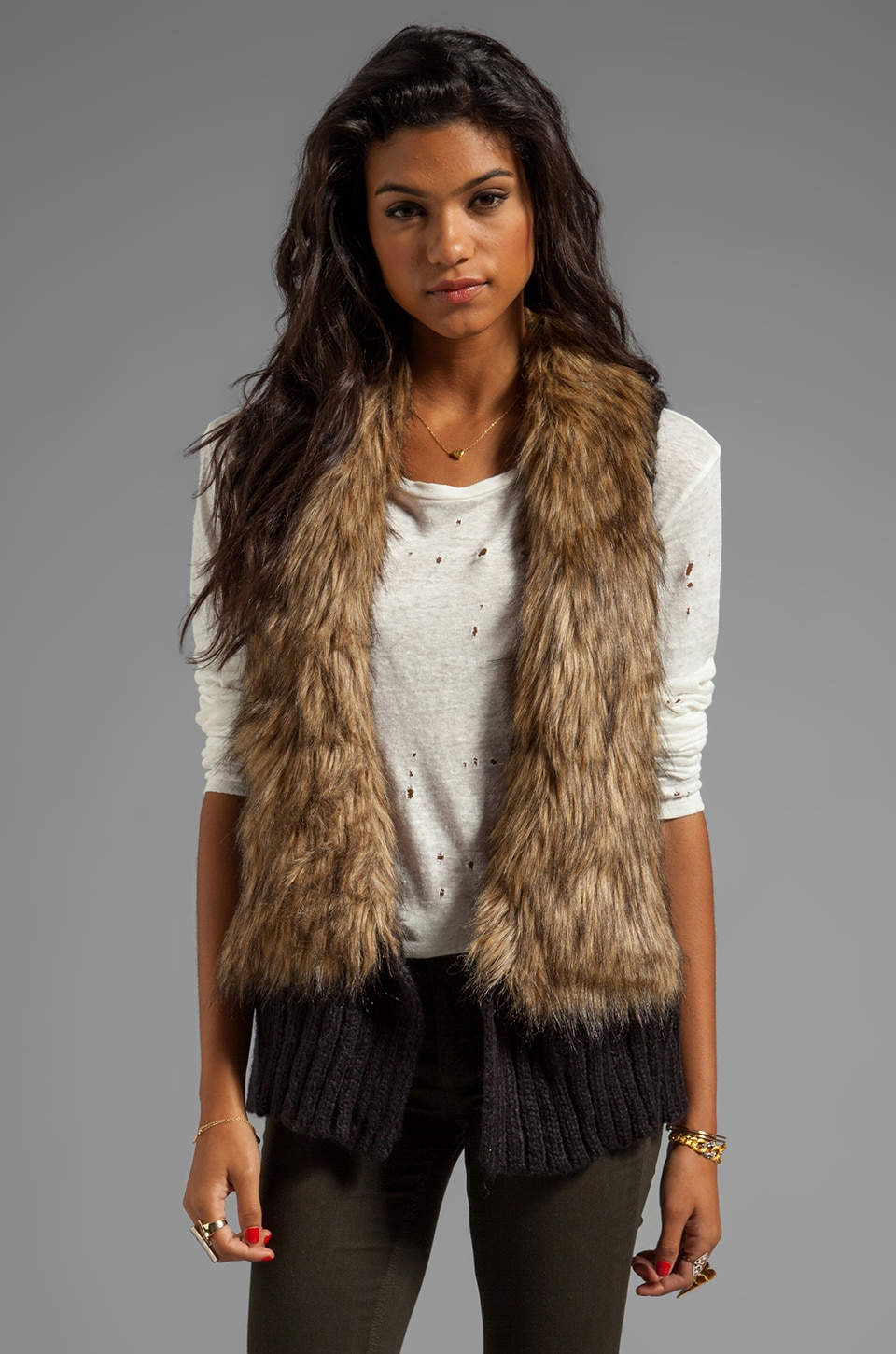 BB Dakota Perri Faux Fur Collar Sweater Knit Vest in Black