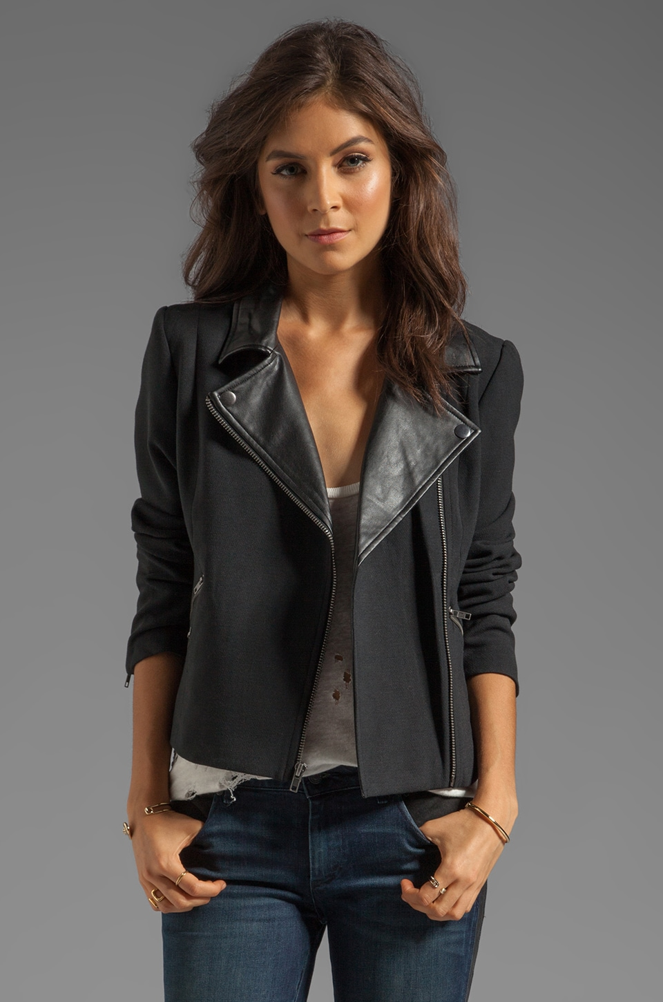 BB Dakota Juliette PU Lapel & Double Cloth Moto Jacket in Black