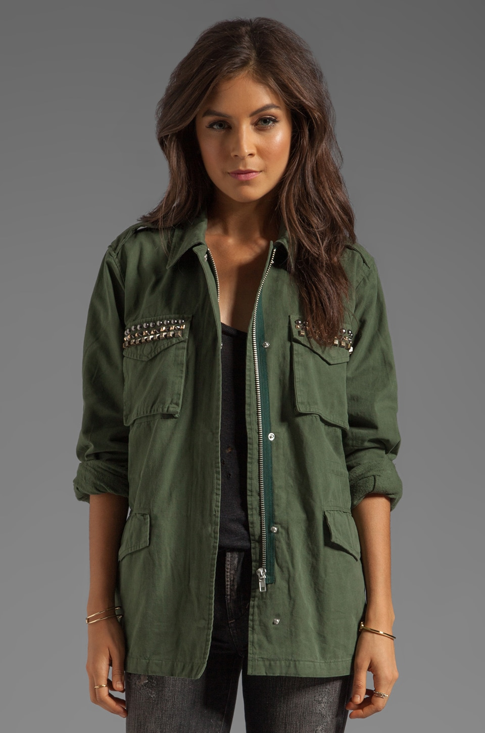BB Dakota Tawny Stud Trim Army Jacket in Army Green