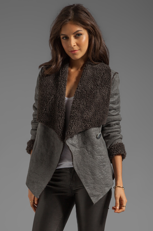 BB Dakota Gillian Faux Shearling/Suede Jacket in Charcoal