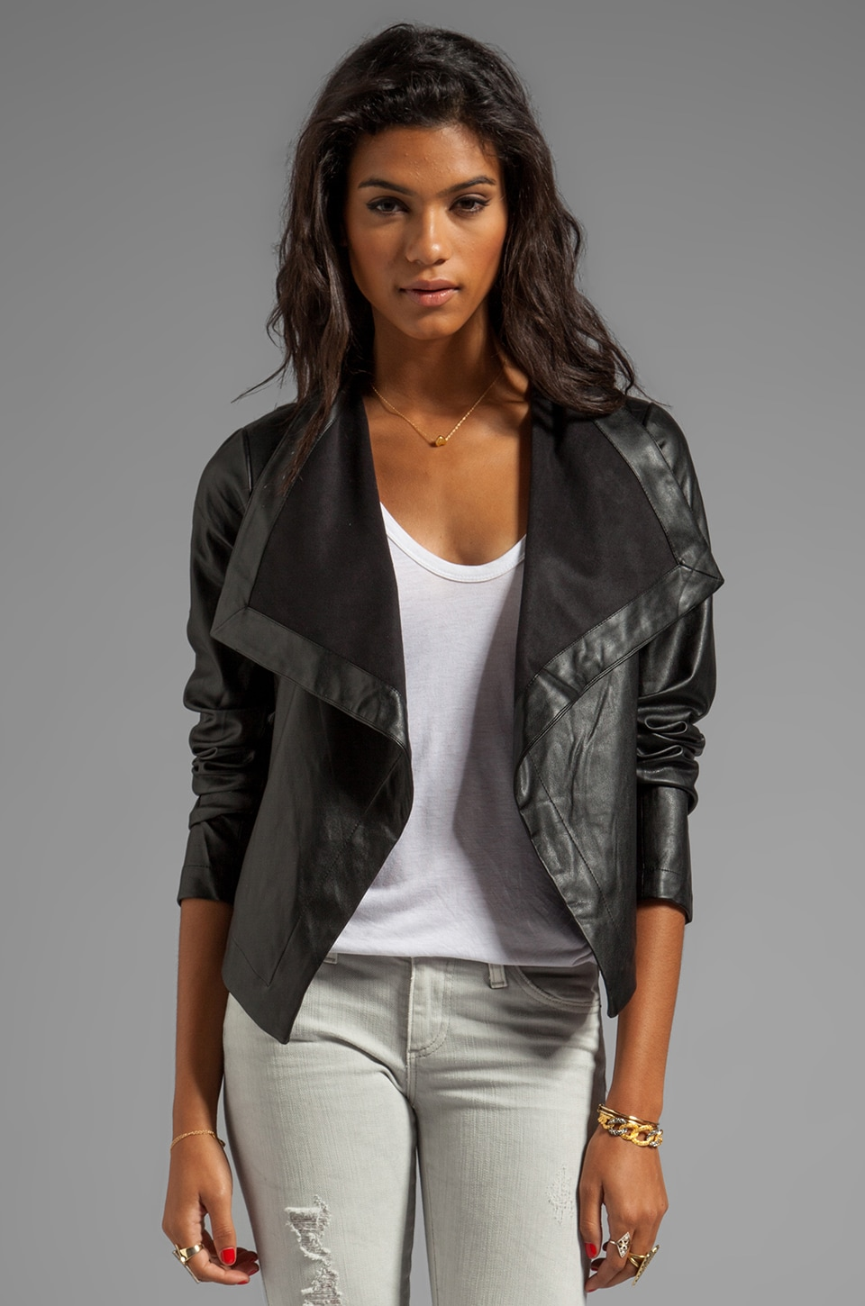 BB Dakota Jasper PU Drapey Front Jacket in Black