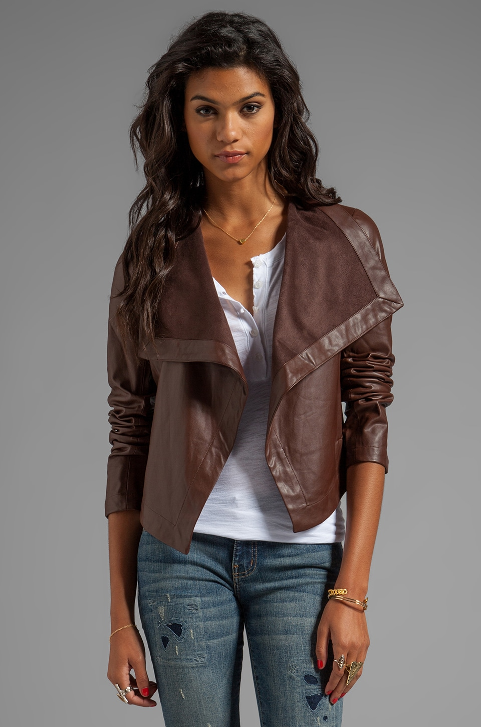 BB Dakota Jasper PU Drapey Front Jacket in Coffee