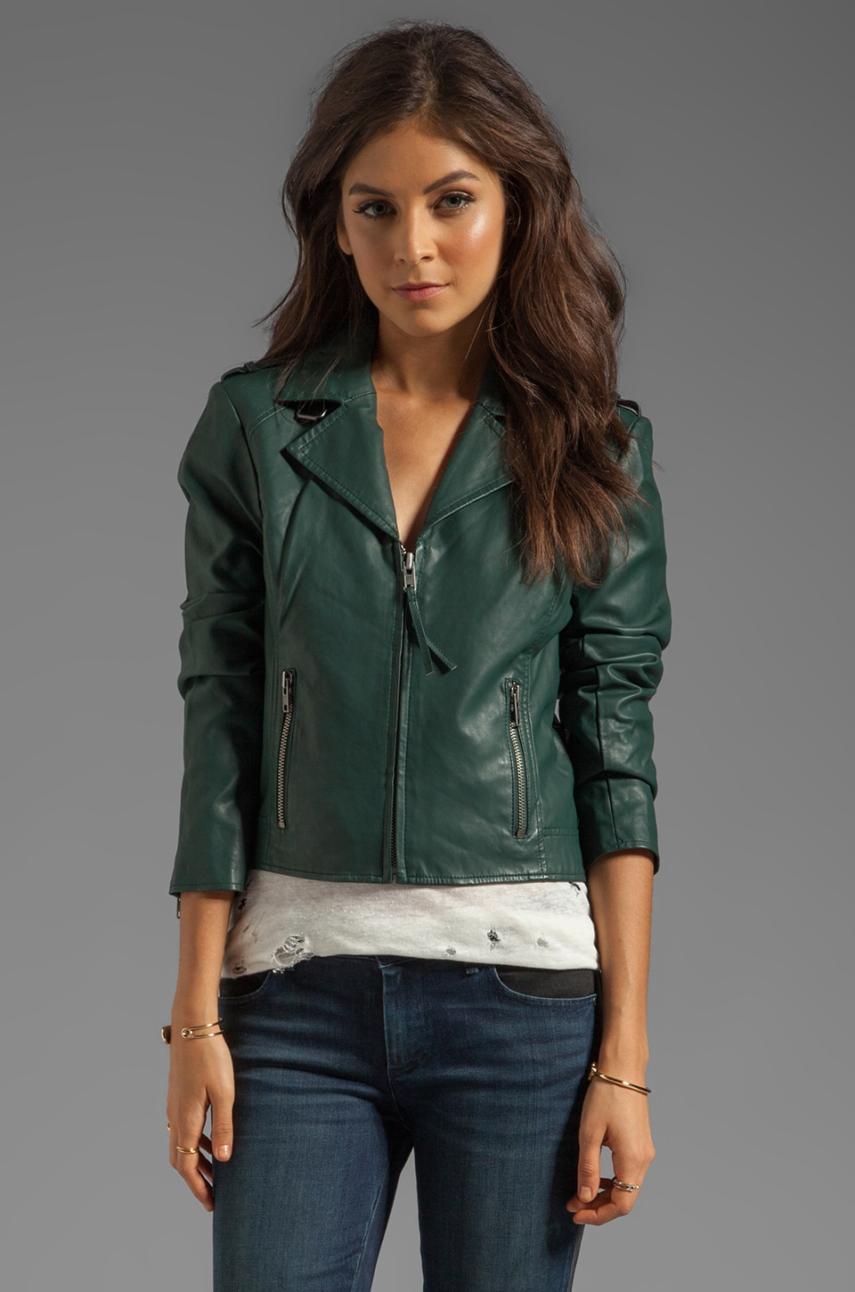 BB Dakota Missy PU Moto Jacket in Dark Green | REVOLVE