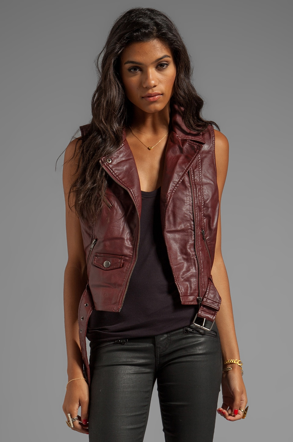 BB Dakota Anne PU Vest in OX Blood