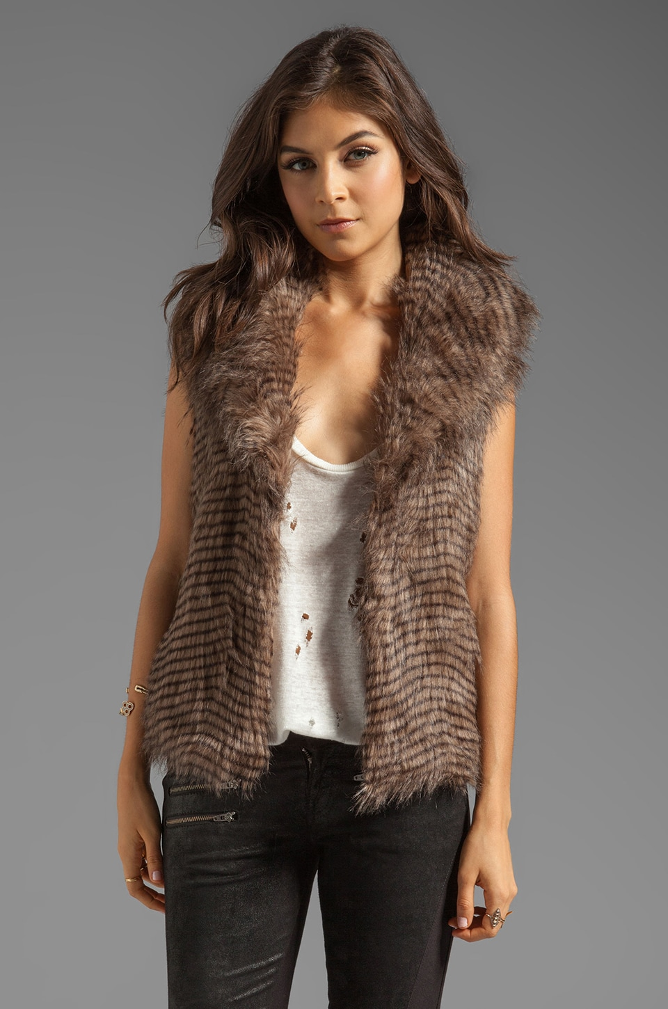 BB Dakota Davorah Faux Fur Vest in Taupe