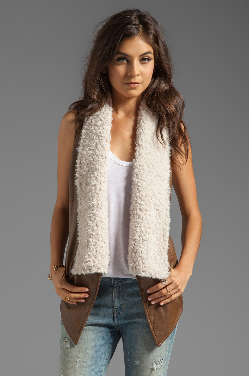 BB Dakota Elaine 2 Tone PU Leather Vest with Faux Fur in Brown